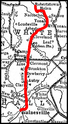We live near the town of Helen, GA.  The newspaper is in Gainesville, where the rilway line ended.