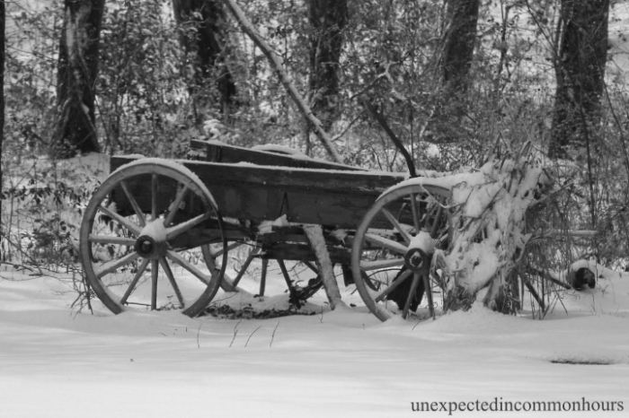 Abandoned wagon in snow
