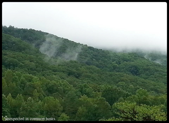 The view from the parking lot of our church about 3 weeks ago, Yonah Mountain in the mist
