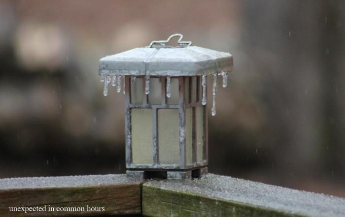 Ice on solar light