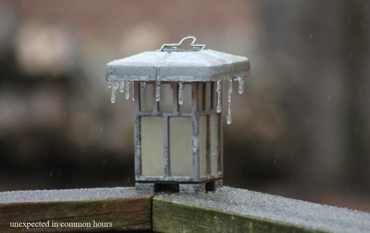 Ice on solar light