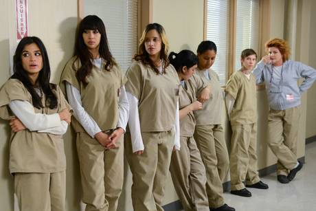 "Although inmates at Lee Arrendale wear clothing identical to that worn by these women, this photo is a still shot from the television series ""Orange Is the New Black"""