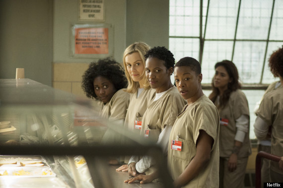"Standing in the chow line on the show ""Orange is the New Black"""