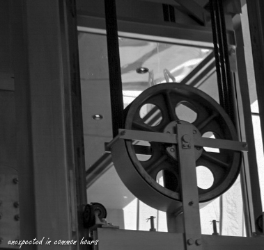 The pulley wheel for the elevator at the Booth Western Art Museum.  It is one of only two elevators in the U.S. operated by weights.