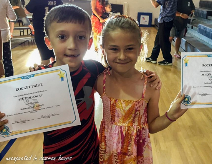 Ben's cousin received an award, too, for setting a good example