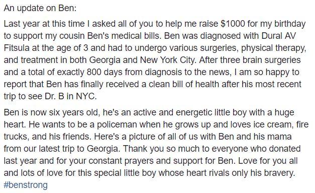 J's update on Ben