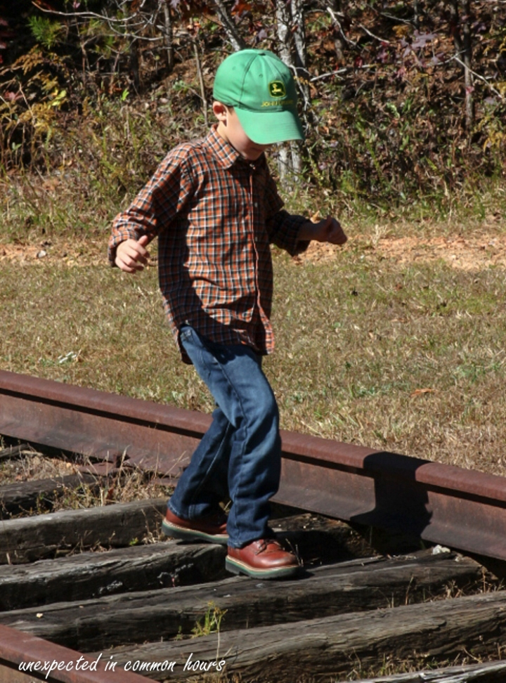 Walking on the old train tracks by Mt. Yonah Book Exchange in White County, Georgia