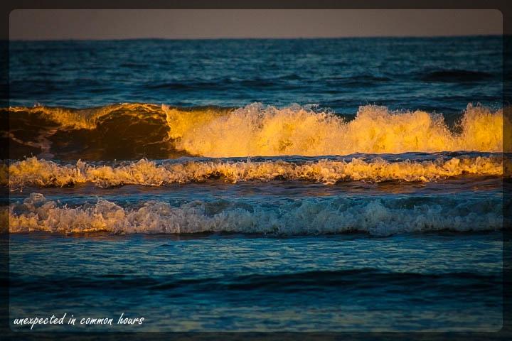 Golden light on ocean waves